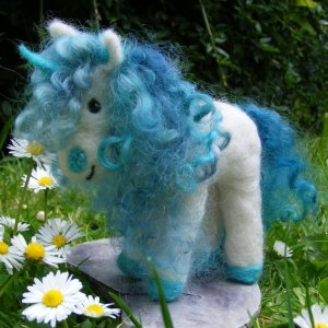Needlefelted Unicorn with Teeswater mane and tail
